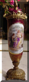French Porcelain Hand Painted  Figural Mini Urn Cranberry Lustre